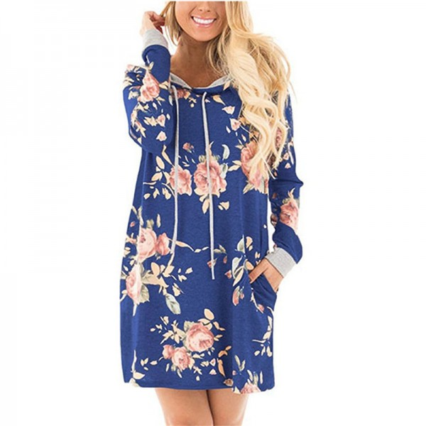 Print Flower Floral Female Hoodie Sweatshirt Dress Long Sleeve Fashion Hooded Womens Hoodies Women Pullovers Extra Image 4