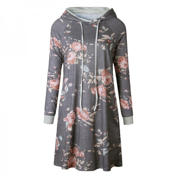 Print Flower Floral Female Hoodie Sweatshirt Dress Long Sleeve Fashion Hooded Womens Hoodies Women Pullovers Extra Image 5
