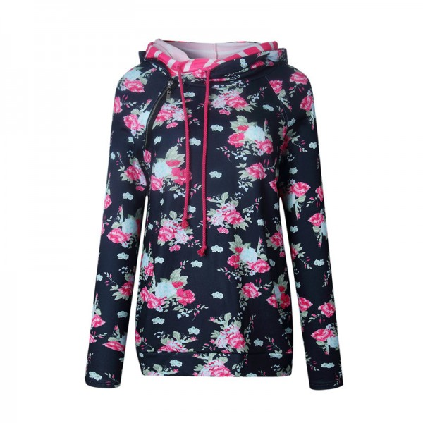 Printed Floral Side Zipper Hoodies Women Autumn Winter Cotton Hoodie Sweatshirt Female Fashion Casual Hooded Pullovers Extra Image 4