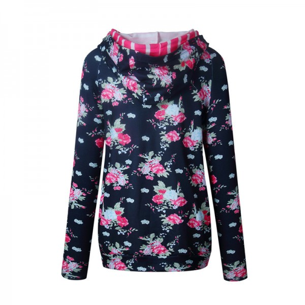 Printed Floral Side Zipper Hoodies Women Autumn Winter Cotton Hoodie Sweatshirt Female Fashion Casual Hooded Pullovers Extra Image 5