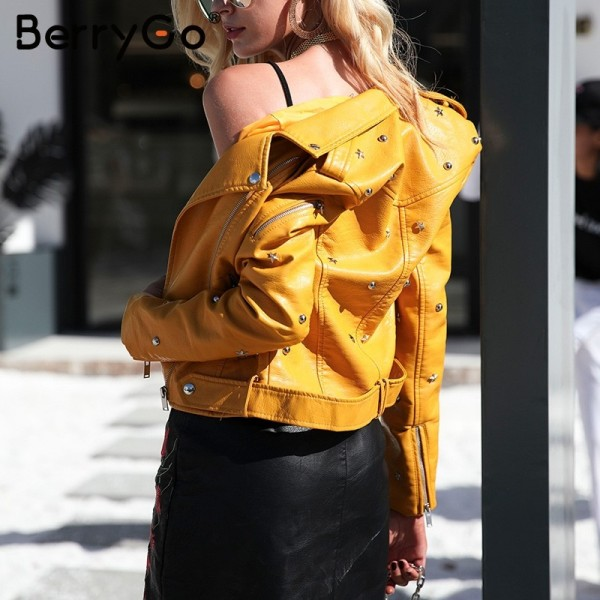 PU leather jacket coat female rivet outerwear coats Zipper basic jackets faux leather coat Autumn winter jacket women Extra Image 3