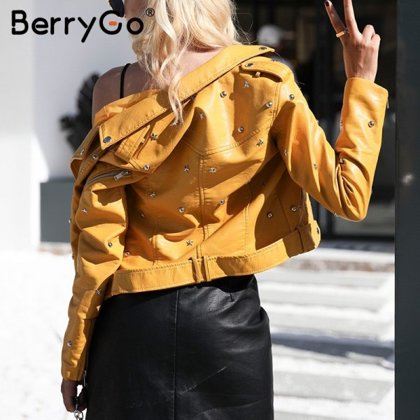 PU leather jacket coat female rivet outerwear coats Zipper basic jackets faux leather coat Autumn winter jacket women Extra Image 4