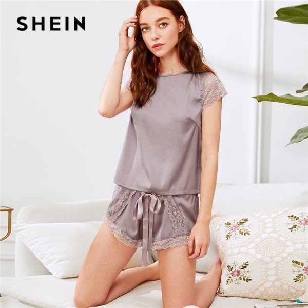 Purple Lace Insert Knot Top Shorts Pajama Set 2018 Casual Women Round Neck Short Sleeve Drawstring Plain Nightwear