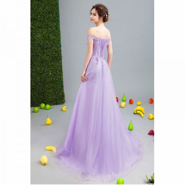 Purple Sales Sleeveless Boat Neck Evening Dresses Flower Pattern Tassel Elegant Illusion  Evening Gown For Women Extra Image 2