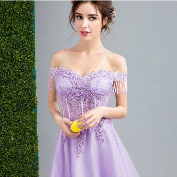 Purple Sales Sleeveless Boat Neck Evening Dresses Flower Pattern Tassel Elegant Illusion  Evening Gown For Women Extra Image 4