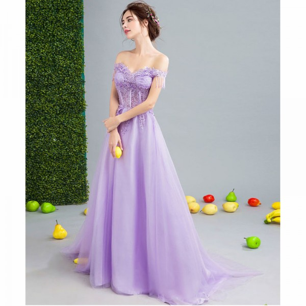 Purple Sales Sleeveless Boat Neck Evening Dresses Flower Pattern Tassel Elegant Illusion  Evening Gown For Women Extra Image 5