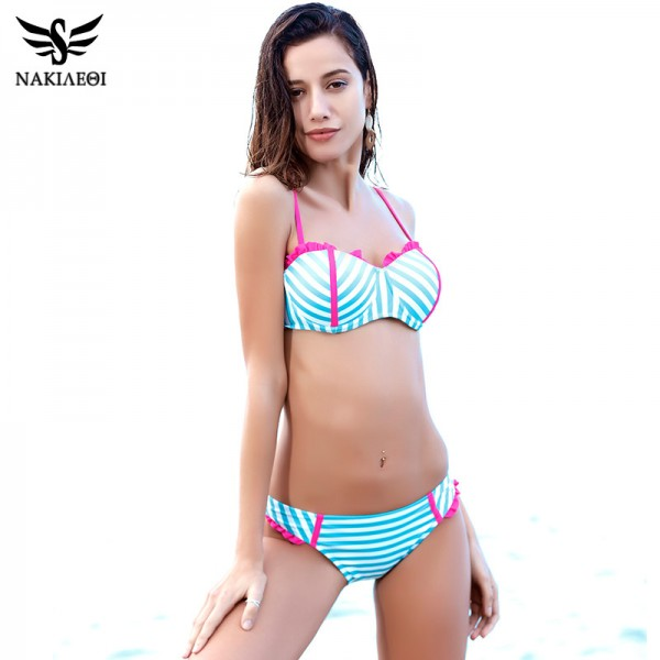 2709a3cd54 ... Push Up Bikini 2018 Swimwear Women Ruffle Floral Swimsuit Bathing Suit  Sexy Bikinis Set Swim Wear ...