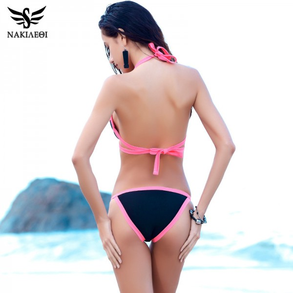 Push Up Bikini Sexy Bandage Swimwear Women Swimsuit Patchwork Summer Beachwear Bathing Suit Brazilian Bikini Set Extra Image 2