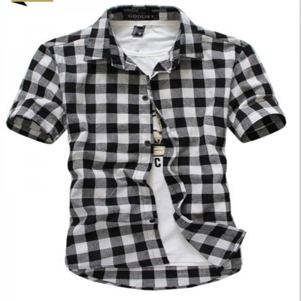 Red and black plaid summer homme checkered short sleeve for Red and white plaid shirt mens