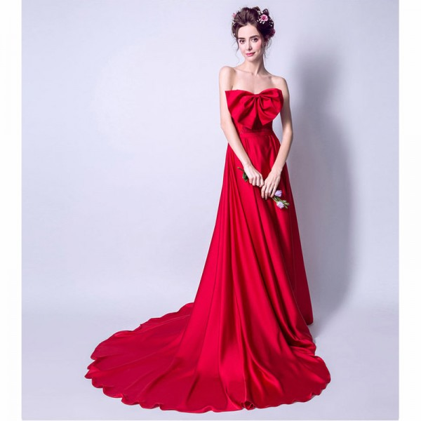 Red Hot Sleeveless Strapless Evening Dresses Bow Sexy Floor Length Romantic Evening Party Evening Gown Extra Image 5