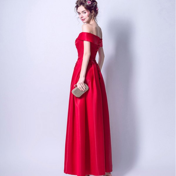 Red New Sleeveless Boat Neck Evening Gowns Flower Patter Bling Sequined Vintage Elegant Satin Evening Dress Extra Image 3