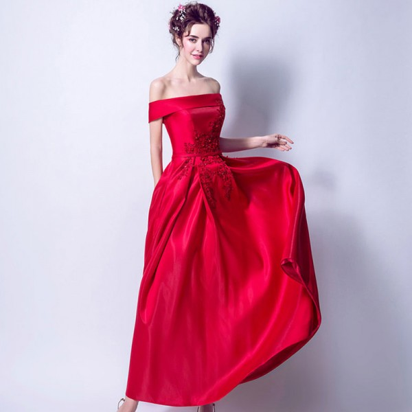 Red New Sleeveless Boat Neck Evening Gowns Flower Patter Bling Sequined Vintage Elegant Satin Evening Dress Extra Image 4