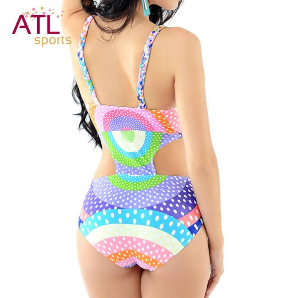 Retro One Piece Swimsuits High Waisted Swimsuit Retro Hot Geometric Push Up Colourful Paddes Swimwear For Female Extra Image 3
