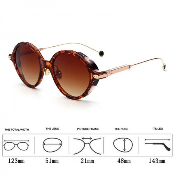 Retro Steampunk Sunglasses Round Vintage Metal Frame UV Protection Adult Eyewear Trending Eyeglasses Extra Image 2