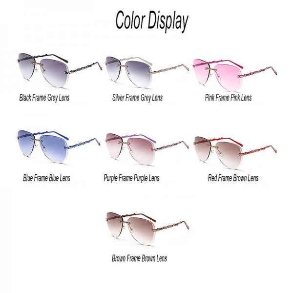 Rimless Female Sunglasses Alloy Frame Gradient Lens UV400 Polarized Luxury Adult Femino Sun Eyewear Extra Image 4