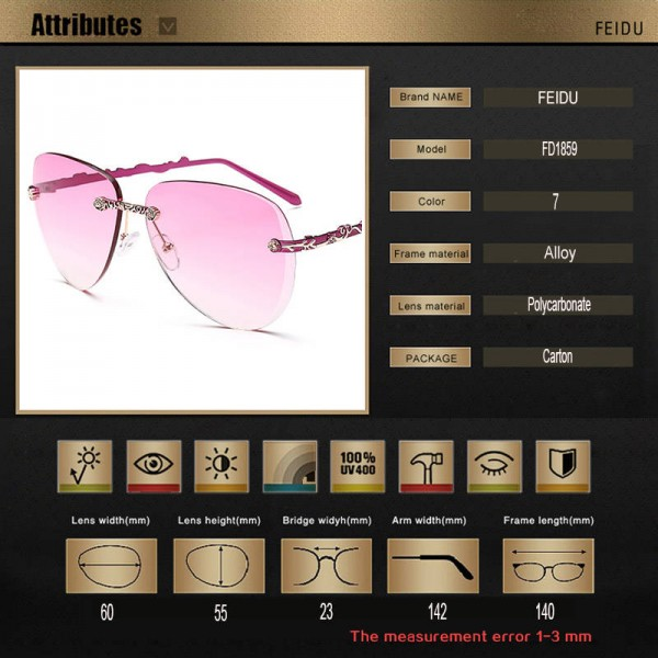 Rimless Female Sunglasses Alloy Frame Gradient Lens UV400 Polarized Luxury Adult Femino Sun Eyewear Extra Image 5