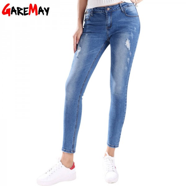 Ripped Jeans For Women Thin Skinny Denim Stretch Plus Size Pencil Pants For Women Thumbnail