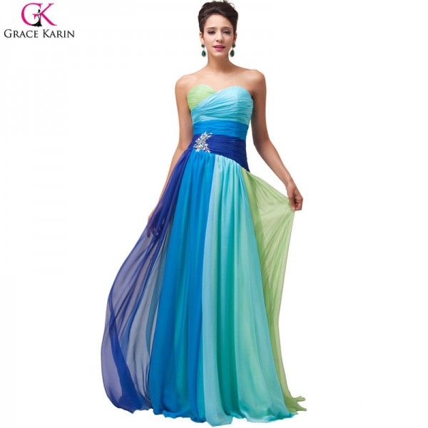 Buy Robe De Soiree Longue Evening Dresses Ombre Chiffon Strapless ...