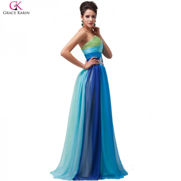 Robe De Soiree Longue Evening Dresses Ombre Chiffon Strapless Long Formal Gowns Elegant Party Dress Evening Dresses Extra Image 4