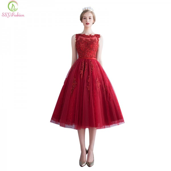 Buy Robe De Soiree Wine Red Lace Embroidery Sleeveless A Line ...