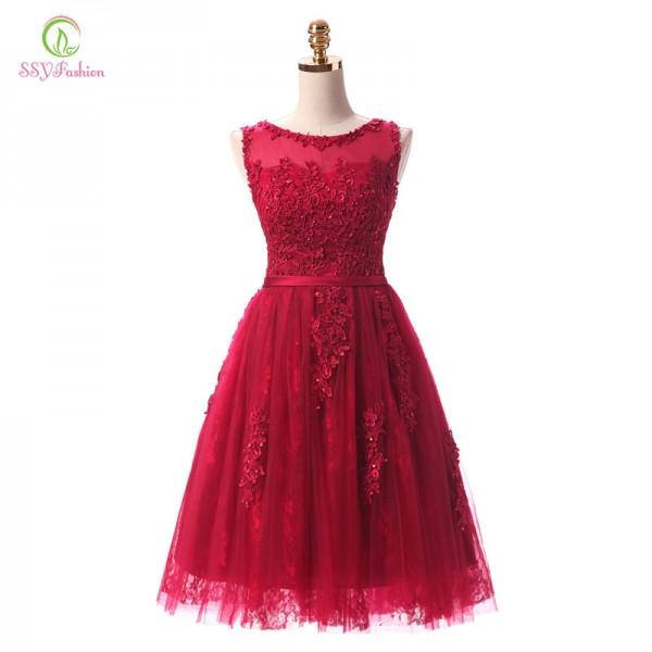Robe De Soiree Wine Red Lace Embroidery Sleeveless A Line Evening Dresses Banquet Elegant Party Formal Prom Dress Extra Image 3