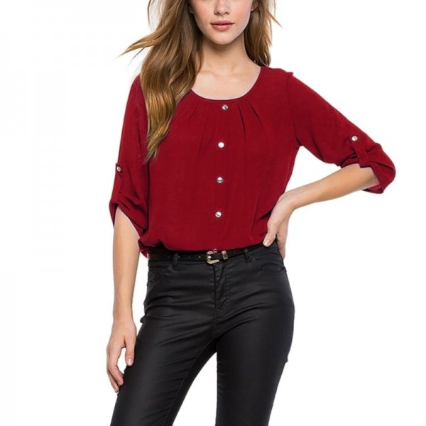 Round Neck Chiffon Women Blouse Button Decor Office Ladies Spring Tops Casual Spring Clothing 2019 Arrival Tops Extra Image 2