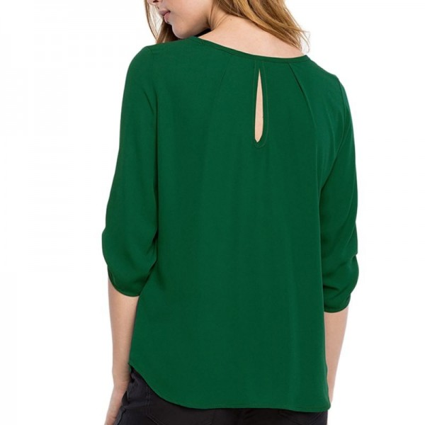 Round Neck Chiffon Women Blouse Button Decor Office Ladies Spring Tops Casual Spring Clothing 2019 Arrival Tops Extra Image 4