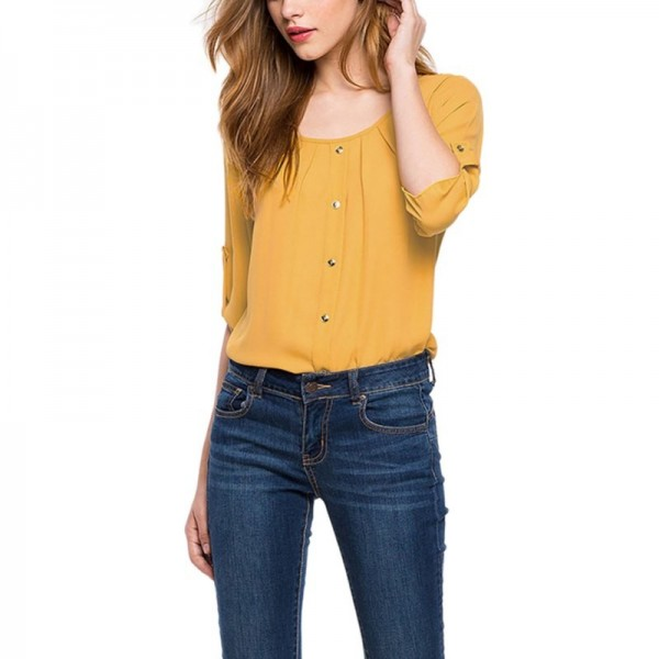Round Neck Chiffon Women Blouse Button Decor Office Ladies Spring Tops Casual Spring Clothing 2019 Arrival Tops Extra Image 5