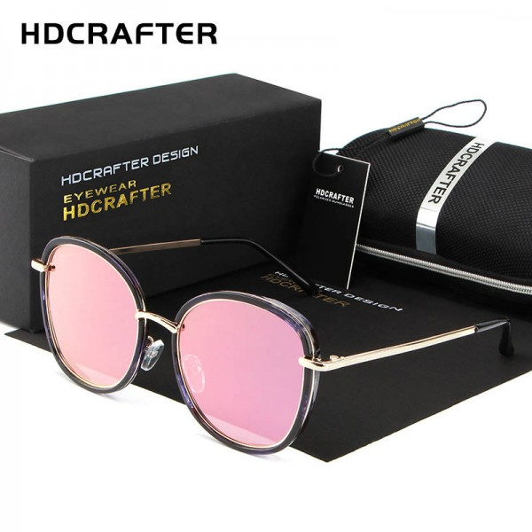 Round Polarized Sunglasses Cat Eye Latest Designer Women Pink Polarized Sunglasses HDCRAFTER Glasses Extra Image 0