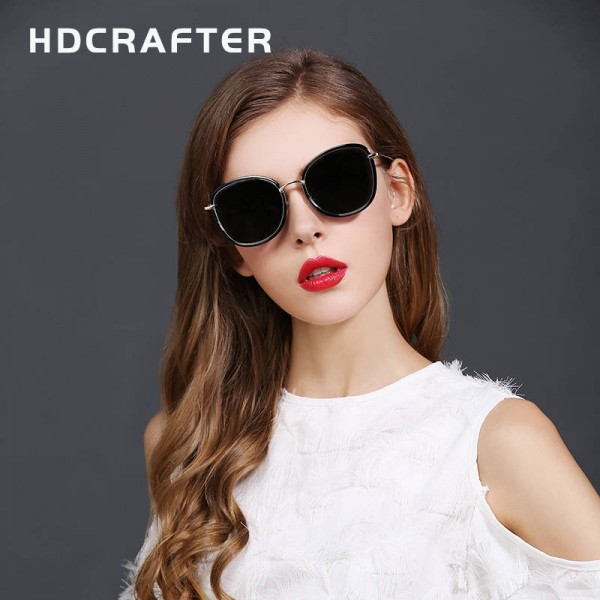 Round Polarized Sunglasses Cat Eye Latest Designer Women Pink Polarized Sunglasses HDCRAFTER Glasses Extra Image 1