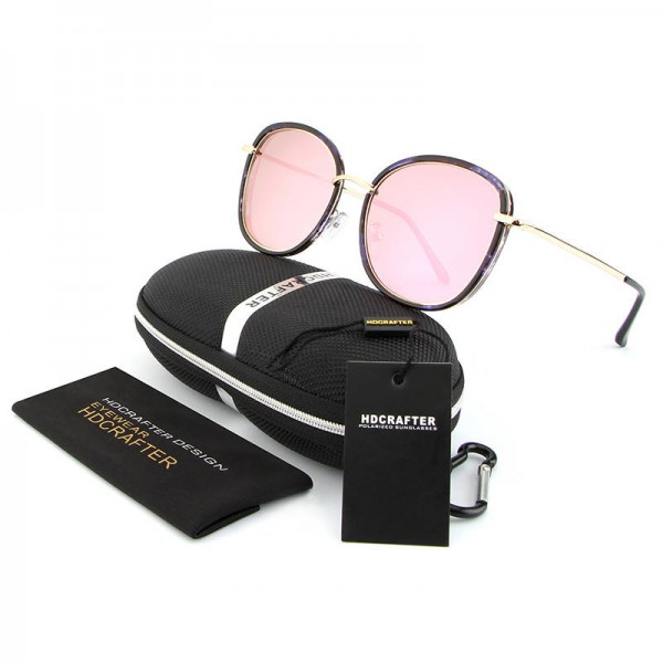 ce5482731d ... Round Polarized Sunglasses Cat Eye Latest Designer Women Pink Polarized Sunglasses  HDCRAFTER Glasses Extra Image 4 ...