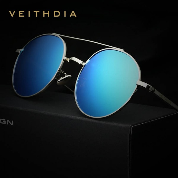 Round Retro Sunglasses Polarized UV400 Anti Scratch Veithdia Styling Trending Fashion Eye Wear For Women Extra Image 2