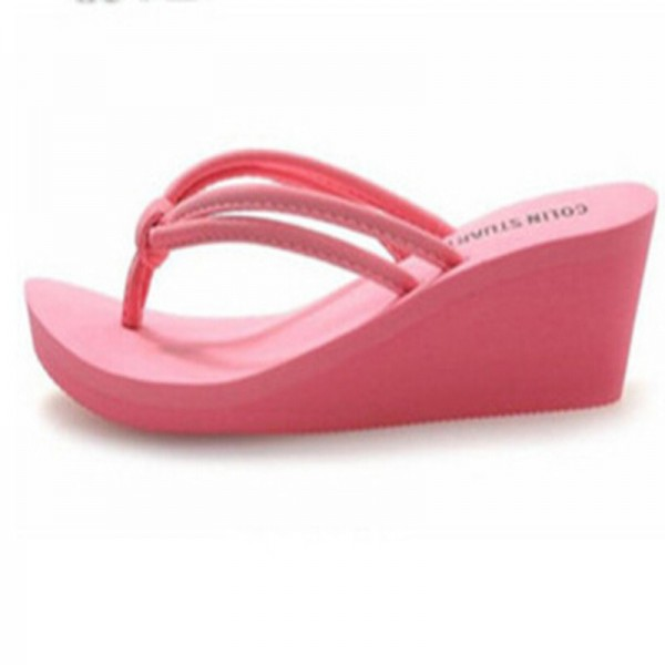2a65623c0 Rubber Slip On Casual Plain Fashion Sandals Shoes Beach Flat Wedge Flip  Flops Lady Slippers Women 2018 Summer Style