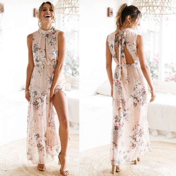 Ruffle Backless Maxi Dress For Women Long Printed Bow O Neck Summer Dress Cool Beach Boho Maxi Dress Extra Image 2