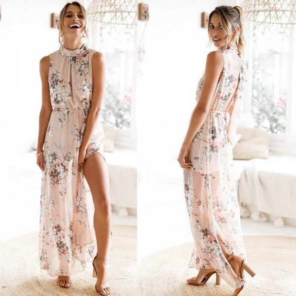 Ruffle Backless Maxi Dress For Women Long Printed Bow O Neck Summer Dress Cool Beach Boho Maxi Dress Extra Image 3