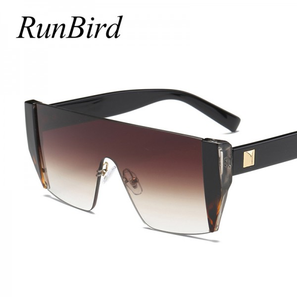 Runbird Fashion Sunglasses Women Square Personality Exaggerated Original Brand Designer Glasses Steampunk