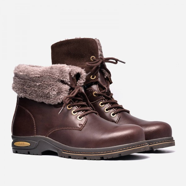 Russian Style Handmade Boots Genuine Leather High Quality Warm Shoes For Men Thumbnail