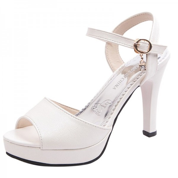 Sandals Women Shoes Solid Color Open Toe Sandals Female Sexy Thin Heels High Heels One Word Buckle Shoes Extra Image 2