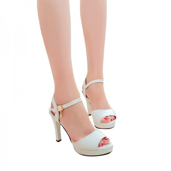 Sandals Women Shoes Solid Color Open Toe Sandals Female Sexy Thin Heels High Heels One Word Buckle Shoes Extra Image 6