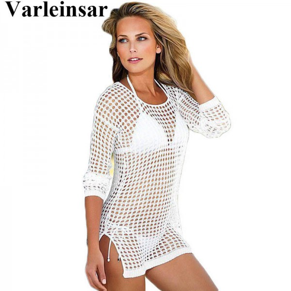 4274692107d0d See Through Sexy Swimwear Dress Crochet Cover Up Beach Bikini Knitting Swimsuit  For Women New Arrival ...