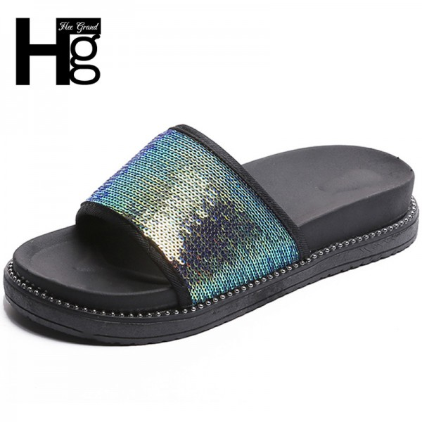 Sequined Cloth Slides Women Summer Slippers Casual Flats Shoes Woman Slip On Glitter Beach Shoes Creepers Extra Image 1