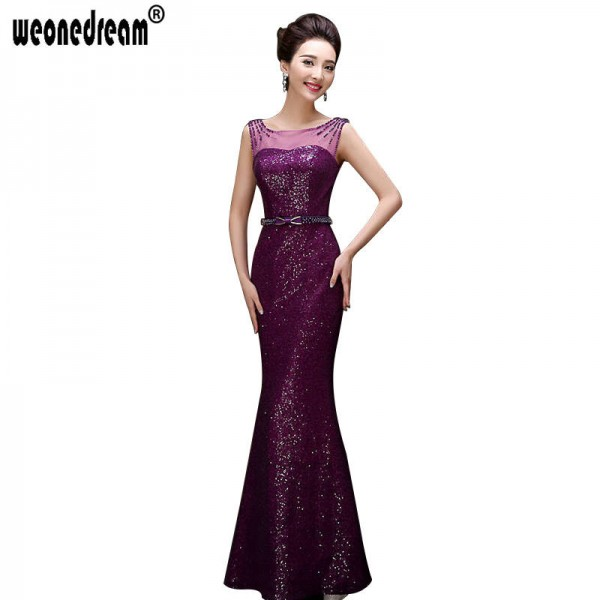 Sequins Soft Evening Dress Floor Length Party Dress Purple Plus Size ...