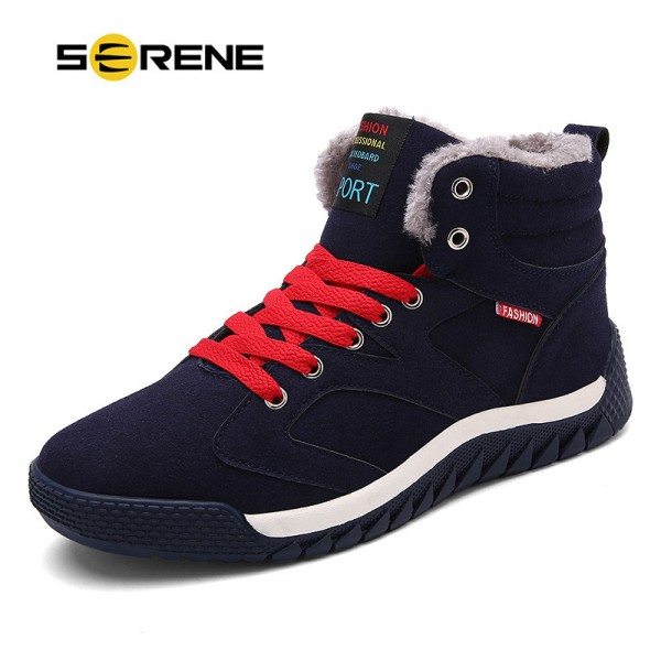 SERENE 2018 Winter New Arrival Men Casual Snow Boots With Fur Fashion Ankle Boots 3 Color Lace Free Shipping Extra Image 1