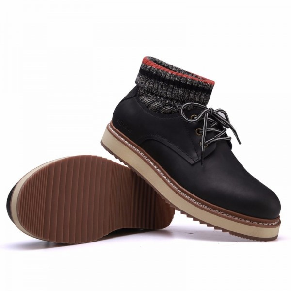 SERENE Handmade Winter Warm Socks Boots Fashion British Style Leather Retro Tooling Ankle Men Shoes Snow Male Footwear