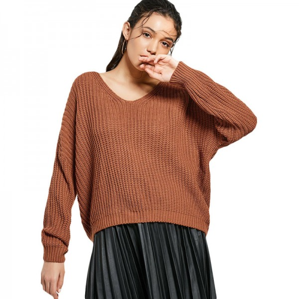 Sexy backless knitting pullover Fashion lace up autumn winter sweater women tops Casual hollow out jumper pull femme