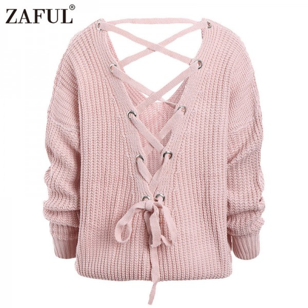 Sexy backless knitting pullover Fashion lace up autumn winter sweater women tops Casual hollow out jumper pull femme Extra Image 5
