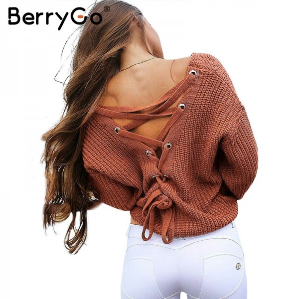 Sexy backless lace up knitting pullover Casual autumn winter sweater women tops Fashion hollow out jumper pull femme Extra Image 1