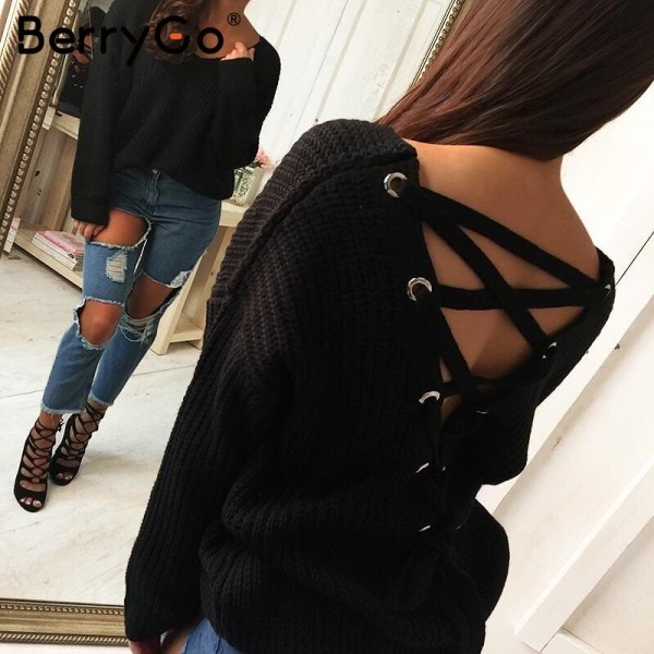 Sexy backless lace up knitting pullover Casual autumn winter sweater women tops Fashion hollow out jumper pull femme Extra Image 2