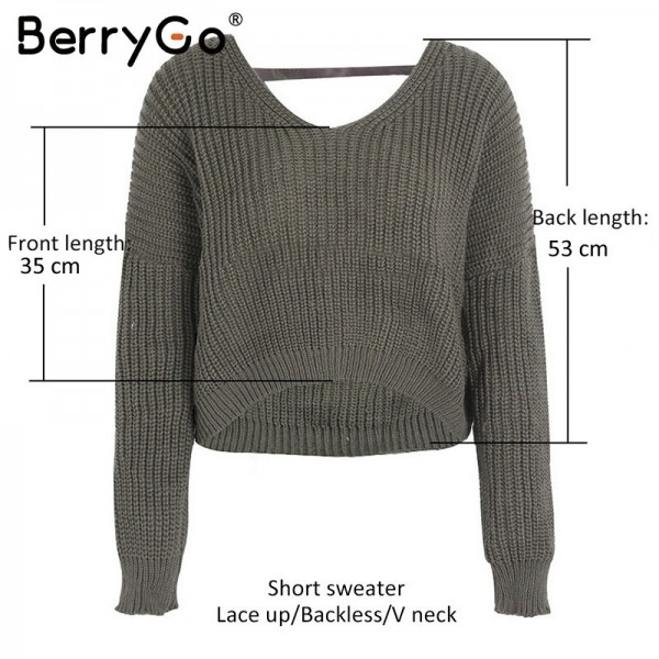 Sexy backless lace up knitting pullover Casual autumn winter sweater women tops Fashion hollow out jumper pull femme Extra Image 5