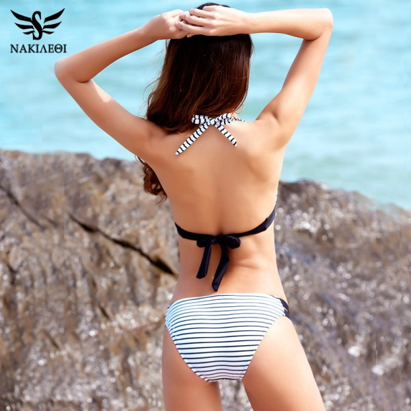 Sexy Bikinis Women Swimsuit Swimwear Halter Plaid Cut Out Brazilian Bikini Set Bathing Suits Summer Beach Wear XL Extra Image 3
